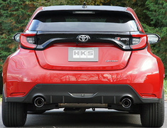 GR Yaris RZ - GXPA16 - Cannot be installed on RS (1.5L FF), GR Rear Bumper Spoiler cannot be installed, Not compatible with RC grade. - Pieces: 2 - Pipe Size: 70-54mm - Tail Size: 101.6mm (x2) - Body Type: S304 - Tail Type: RS (Black) - 31021-AT006