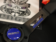 350/85mm - Black/Blue 350mm Diameter - 85mm Deep - Black Spoke - Blue Stitch - Black Leather