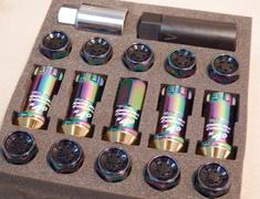 RF-11N Neon/Chrome - M12 - P1.5 - 16 Nuts + 4 Locks