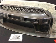 GT-R - R35 - Full Bumper Kit Ver.1 - for use with LED day lamps - Material: Carbon + FRP - Color: Unpainted - TS-R35-FBKV1-W