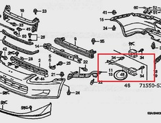 S2000 - AP1 - Rear Reinforcement Bar - 71550-S2A-J01ZZ