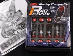 - M12XP1.5 Black-Red cap-4 Locks + 16 Nuts - RIA-11KR