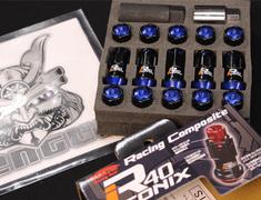- M12XP1.25 Black Blue Cap-4 Locks + 16 Nuts - RIA-13KU