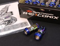- M12XP1.5 Neo Chrome Blue Cap-4 Locks + 16 Nuts - RIA-11NU