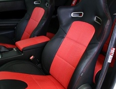 Skyline GT-R - BNR34 - Front Set without Side Airbags - Material: PVC - Color: Black - Insert: Red - Thread: Red - Seat: Front Set - SACPTZ-BNR34-FRT