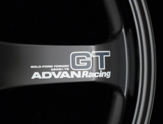 - ADVAN RACING GT Spoke Sticker - Colour: White - Quantity: 2 - Wheel: Semi-gloss black - V0618