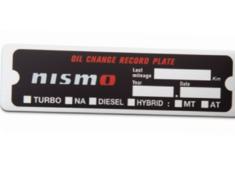 Nismo - Oil Change Record Plate