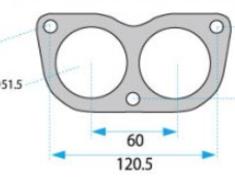 - Glasses - Bolts: 3 - ID: 50mm (x2) - Pitch1: 120.5mm - Pitch2: 50mm - HPGS-50W