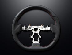 GT-R - R35 - Type: D-Shape - Material: Leather/Alcantara - Color: Black - Stitch: Grey - Stitch: Red - MINESR35GTR-WHEEL