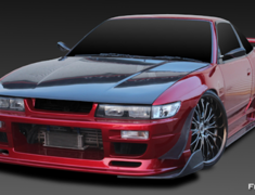 180SX - RS13 - Wide Body 5 Piece Kit: Front Bumper Spoiler + Side Steps + Rear Bumper Spoiler + Front Fenders (+20mm) + Rear Fenders (+50mm) - Construction: FRP - Colour: Unpainted - GCFLASH-SIL80-WB5P