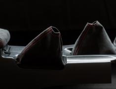 Skyline GT-R - BCNR33 - Shift Boot & Hand Brake Boot Kit - Material: Alcantara - Stitch: Grey - Stitch: Red - BCNR33-SB-AL