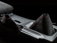 Skyline GT-R - BNR32 - Shift Boot & Hand Brake Boot Kit - Material: Alcantara - Stitch: Grey - Stitch: Red - BNR32-SB-AL