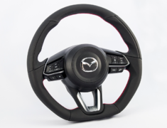 CX-3 - DK5AW - Type: D-Shape - Material: Leather - Color: Black - Diameter: 370mm x 365mm - Stitch: Red - MD01