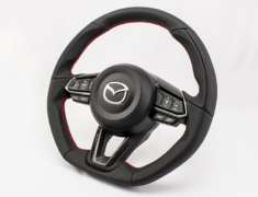 CX-3 - DK5AW - with Dry Carbon Panel - Type: D-Shape - Material: Leather - Color: Black - Diameter: 370mm x 365mm - Stitch: Red - MD01C