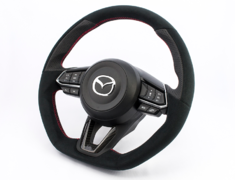 CX-3 - DK5AW - with Dry Carbon Panel - Type: D-Shape - Material: Ultra Suede/Leather - Color: Black - Diameter: 370mm x 365mm - Stitch: Red - MD02C