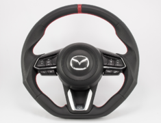 CX-3 - DK5AW - Type: D-Shape - Material: Leather - Color: Black/Red Line - Diameter: 380mm x 370mm - Stitch: Red - MD03