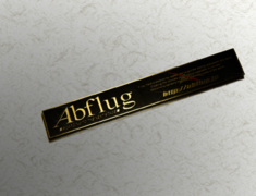 - Colour: Black & Gold (Brass) - Size: W190mm H28mm - Abflug Emblem Plate