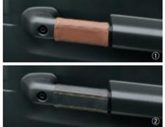 Jimny Sierra - JB74W - Genuine Leather Door Grip Cover (L+R) - Category: Interior - Colour: Black w/ Yellow Stitching - 9914R-77R00-002