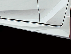 Prius PHV - ZVW52 - Side Skirts - Construction: PPE - Colour: Attitude Black Mica (218) ... C0 - Colour: White Pearl Crystal Shine (070) ... A1 - MS344-47006-##