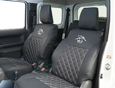 Jimny Sierra - JB74W - Seat Cover - Construction: PVC - Colour: Black / White Stitching - AIM-MT8SC-JB74W