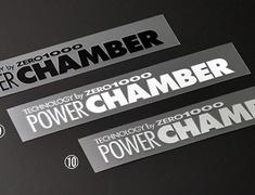 "Universal - #10 ""POWER CHAMBER"" logo sticker - Size: 23mm x150mm - Colour: Silver - 702-A021"