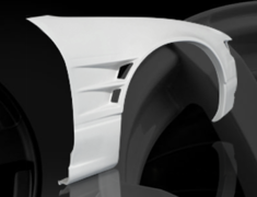 Silvia - S13 - Front Wide Fenders - Material: FRP - Type: Unpainted - Width: +55mm each side - D-130-FF