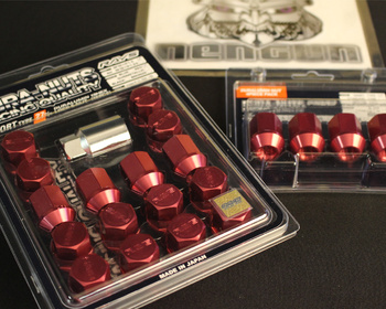 Short - Red - M12x1.5 - 16+4 Set - Short Type - Red - M12x1.5 - 16 Nuts + 4 Lock Nuts
