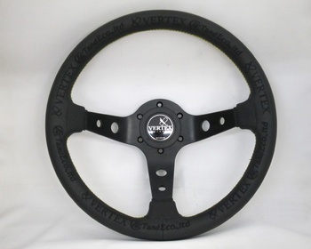 Car Make T&E - Vertex - Steering Wheel - KING OF VERTEX - Black Leather - 330mm