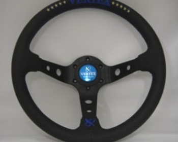 Car Make T&E - Vertex - Steering Wheel - Black Leather - 10 Stars Blue