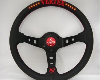 Car Make T&E - Vertex - Steering Wheel - Black Leather - 10 Stars Red