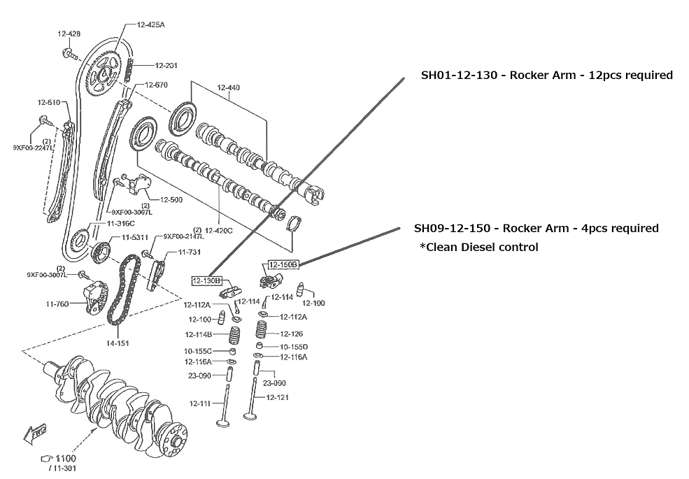 Mazda - Diagram # 12-150B - Rocker Arm for Clean Diesel Control