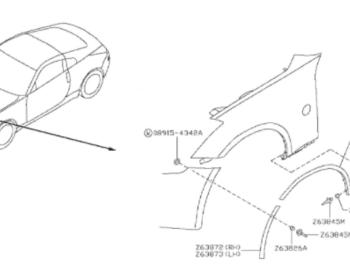 Nissan - Molding Front Fender Rear RH (diagram number Z63874M)