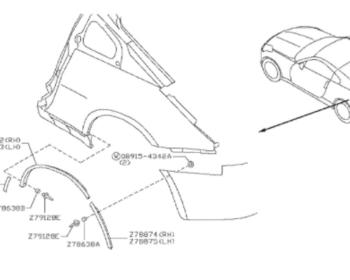 Nissan - Molding Rear Fender Rear RH