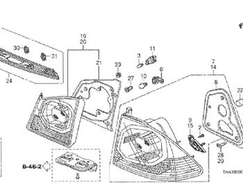 Honda - Tail Lamp Unit LH (#14 in diagram)