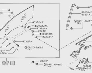 Nissan - Right side window motor